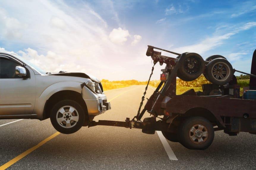 Tow Truck TowingDamaged Car